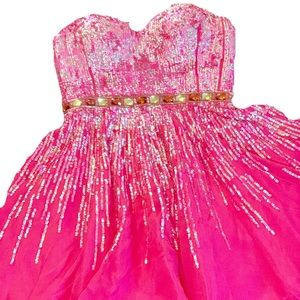 Sherri Hill Dress Hot Pink Ombré Sequin Mini Dress